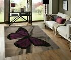 MEDIUM - EXTRA LARGE GREY PURPLE BUTTERFLY PATTERNED NON-SHEDDING RUG