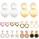 Fashion Round Heart Star Earrings Women Geometric Ear Stud Earrings Jewelry Gift