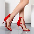 Womens Rhinestones High Stiletto Heels Ankle Strap Sandals Back Zipper Shoes New