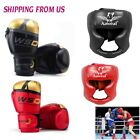 Leather MMA Boxing Grappling Gloves W/ Face Head Guard Protective Gear Helmet