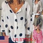 US Summer Women Polka Dot Blouse Loose Long Sleeve V Neck T-shirt Tees Plus size