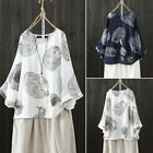 Women Long Bell Sleeve Casual Floral Print Shirt Tops Round Neck Ethnic Blouse