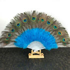 Big Folding Feather Hand Fan Peacock Eye Dance Costume Party Show Fancy Ball New