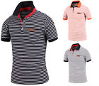 Mens Stylish Stripe Short Sleeve Pique Polo Casual Collar T-Shirts Tops W10 S-L