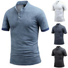 Mens Marbling Short Sleeve Henley Pique Polo Casual Collar T-Shirts Tops W29 S-L