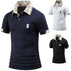 Mens Stylish House Check Collar Short Sleeve Pique Polo Casual T-Shirts W35 S-L
