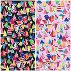 Little Boat Fabric, 100% Cotton, Pink OR Black, Sold Per 1/2 Metre, 112cm Wide