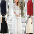 Women Double Lace Layer Pleated Long Maxi Dress Elastic Waist Beach Skirt Dress