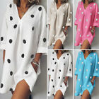 ZANZEA Women Long Sleeve V Neck Shirt Dress Polka Dot Batwing Blouse Tops Plus
