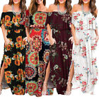 Women Off The Shoulder Ruffle Long Dresses Side Split Beach Party Maxi Sun Dress