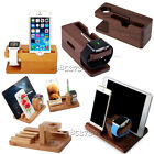 Wood Bamboo Charging Station Holder For A pple Watch i Phone Xs X i Pad Pro Air2