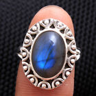 Natural Labradorite cab Gemstone 925 Sterling Silver solid ring Size us 6.75