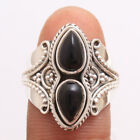 Cab Pear Black Onyx Designer Ring 925 sterling silver jewelry Size us 6.75