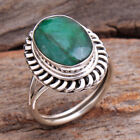Faceted Green Sakota Emerald 925 Sterling Silver jewelry Ring Size us 7.75