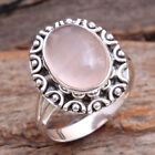 Rose Quartz Oval Cab Solid Ring 925 sterling silver Women jewelry Size us 8.5