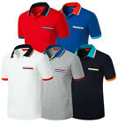 Mens Stylish Width Color Match Polo Pique Collar Casual T-Shirts Top W303 XS-2XL