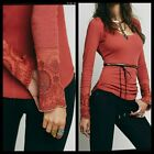 FREEE PEOPLE BOHO LOVELY LADY CUFF THERMAL TOP SIZE SMALL EUC