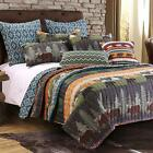 Greenland Home Black Bear Lodge Quilt Set, Full/Queen, Multi