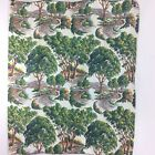 "Vintage Fabric 53.25"" x 44.5"" Park Tress Forest Tapestry Panel Sewing Ephemera"