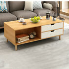 Modern Rectangle Oval Living Room Coffee Table With Lower Shelf Drawers Storage