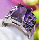 Elegant Ladies Emerald Cut Purple Zircon Ring Fashion Engagement Ring Jewelry