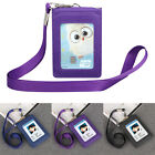 ID Badge Card Wallet Leather Office Business Credit Card Holder+Lanyard +5 Slots