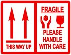 This Way Up / Fragile Packing Stickers / Labels - 103 x 80mm