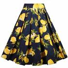 Dressever Women'S Vintage A-Line Printed Pleated Flared Midi Skirts
