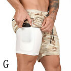 2 in 1 With Phone Pocket Running Shorts Quick Dry Short Pants Sports Shorts Men