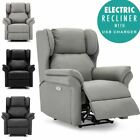 OAKFORD ELECTRIC BONDED LEATHER  AUTO RECLINER WING BACK LOUNGE CHAIR WITH USB