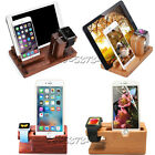 3in1 Bamboo Charge Dock Stand For A pple Watch i Watch i Phone XS i Pad Pro