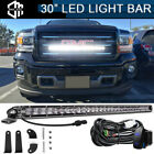 """30"""" LED Light Bar Spot Flood Combo Behind Grille w/ Wire For 14-18 GMC Sierra"""