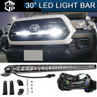 """30"""" 150W LED Light Bar Behind Grille Mounting, Wiring For 16-up Toyota Tacoma"""