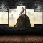 Framed Lone Wolf Animal Hill Poster 5 Piece Canvas Print Wall Art Decor