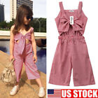 US Toddler Kid Baby Girl Sleeveless Plaid Romper Jumpsuit Outfits Clothes Summer