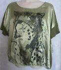 Faded Glory Womens Plus Size Top Blouse 2X 3X or 4X Animal Print New Green