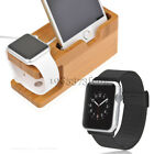 Stainless Steel Wrist Band+Bamboo Charging Dock for Apple Watch 42mm iPhone X 8