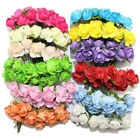144pc Paper Artificial Rose Flowers DIY Card Crafts Head-wear Party Weding Decor
