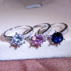 Simple Style Inlaid Zircon Classic Six Claw Ring Elegant Fashion Ladies Ring