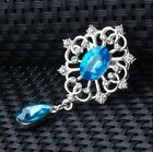 Silver Plated Pin White Crystal Sea Blue Dangle Floral Gemstone UK Gift BR33