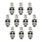 10PCS Halloween Skull Beads Tibetan Silver Charms Jewelry Pendant DIY Findi<q