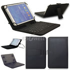 "US For 7"" - 8"" inch Tablets Case Keyboard Micro USB PU Leather Stand Cover Black"