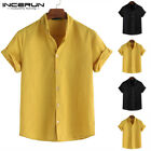 Men's Linen Striped Short Sleeve T Shirts Casual Loose Soft Button Tops Blouses