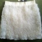 New Miss Selfridge Petites Cream 3D Roses Boho Summer Festival Skirt UK Size 8