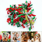 10/100pcs Christmas Dog Hair Bows with Rubber Bands Pet Cat Holiday Accessories