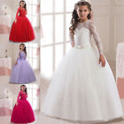 NEW Kids Girl Lace Long Sleeve Wedding Bridesmaid Princess Maxi Party Dress US