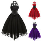 Victorian Gothic Womens Empire Waist Steampunk Corset Mini Retro Swing Dress