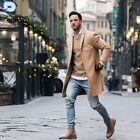 Men's Wool Coat Trench Coat Outwear Overcoat Long Sleeve Button Up Jacket Top <br/> US STOCK🔥100% HIGH QUALITY🔥FAST SHIPPING