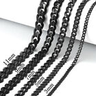 """18""""-30"""" Stainless Steel Black Tone Chain Cuban Curb Mens Necklace 3/5/7/9/11mm"""