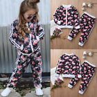 Toddler Kid Baby Girl Tracksuit Floral Sweat Shirt Tops+Pants 2PCS Outfit Set US